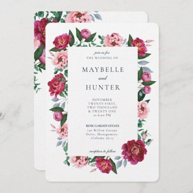 Pink Peony Floral Foliage Botanical Frame Wedding Invitation Berry White Background