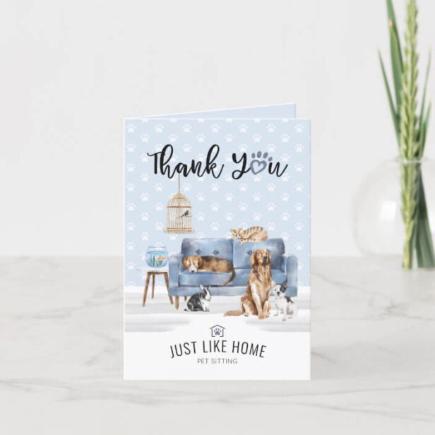 Thank You   Home Pet Sitting Pet Family Blue Couch