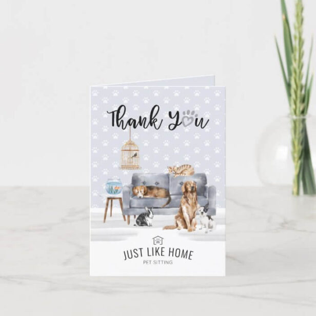 Thank You   Home Pet Sitting Pet Family Grey Couch Thank You Card