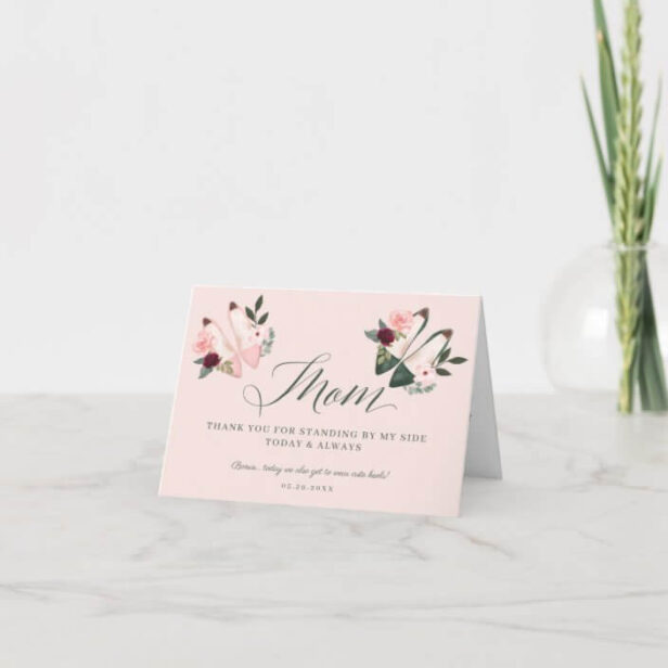 Thanks Mom | Standing by My Side Watercolor Heels Pink Thank You Card