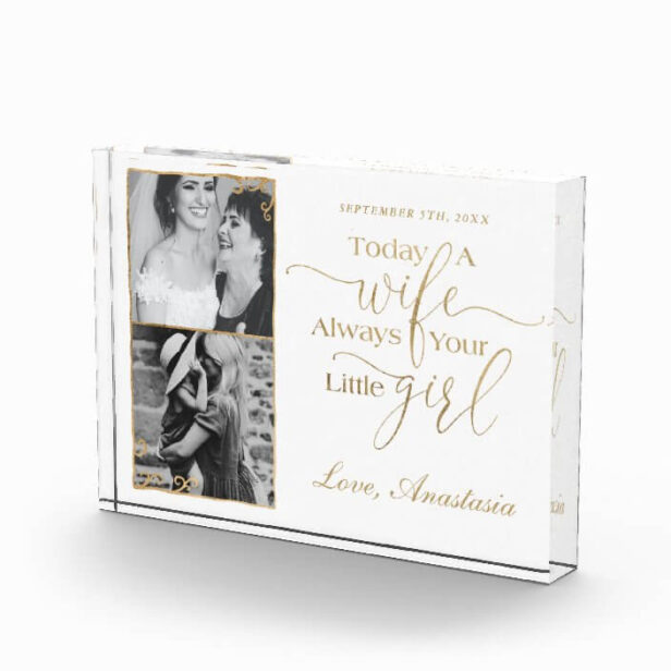 Today a Wife, Always Your Little Girl Wedding Day Elegant Gold Frame Photo Block