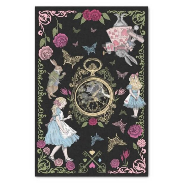 Vintage Alice In Wonderland Fairytale Decoupage Black Tissue Paper