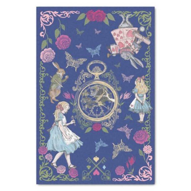 Vintage Alice In Wonderland Fairytale Decoupage Blue Tissue Paper