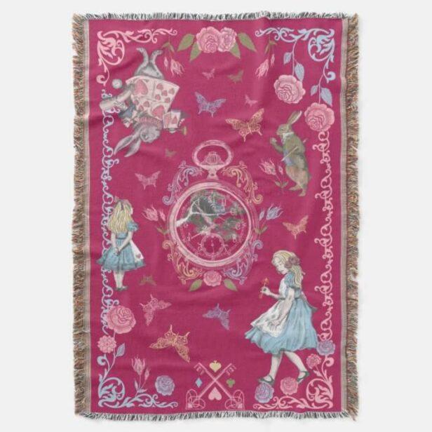 Vintage Alice In Wonderland Fairytale Decoupage Pink Throw Blanket