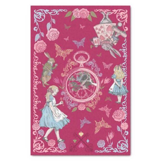 Vintage Alice In Wonderland Fairytale Decoupage Pink Tissue Paper