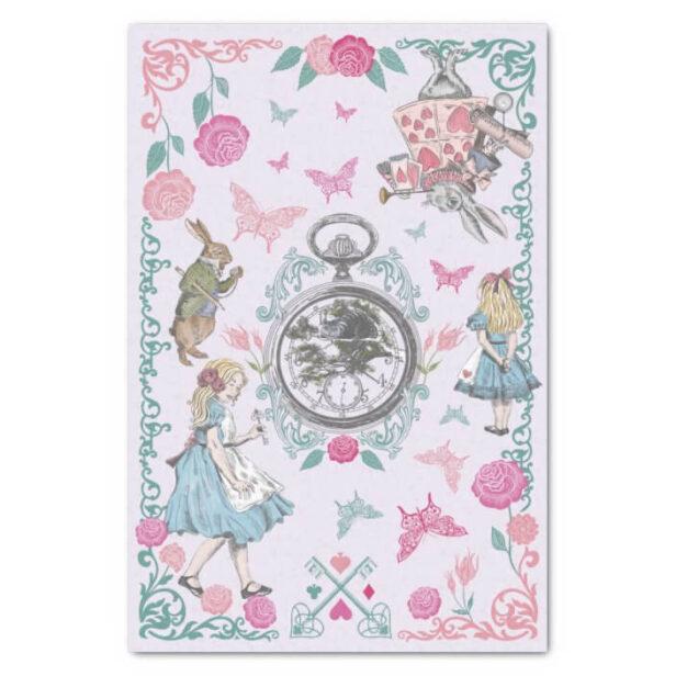 Vintage Alice In Wonderland Fairytale Decoupage Purple Tissue Paper