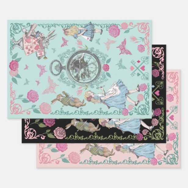 Vintage Alice In Wonderland Fairytale Decoupage Wrapping Paper Sheets