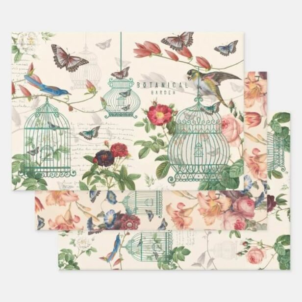 Vintage Birdcage, Butterflies & Birds Decoupage Wrapping Paper Sheets