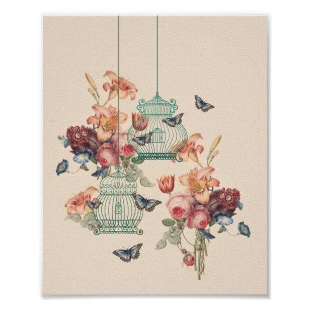 Vintage Birdcages, Butterflies & Vintage Florals Poster