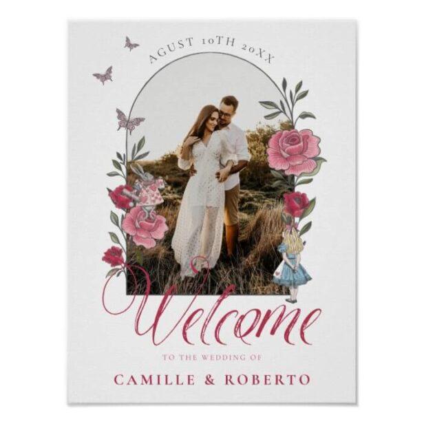 Vintage Floral Alice In Wonderland Wedding Welcome Poster