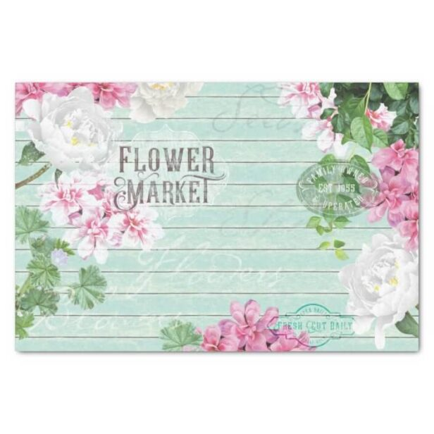 Vintage Fresh Flower Market Aqua Blue Rustic Wood Decoupage Tissue Paper