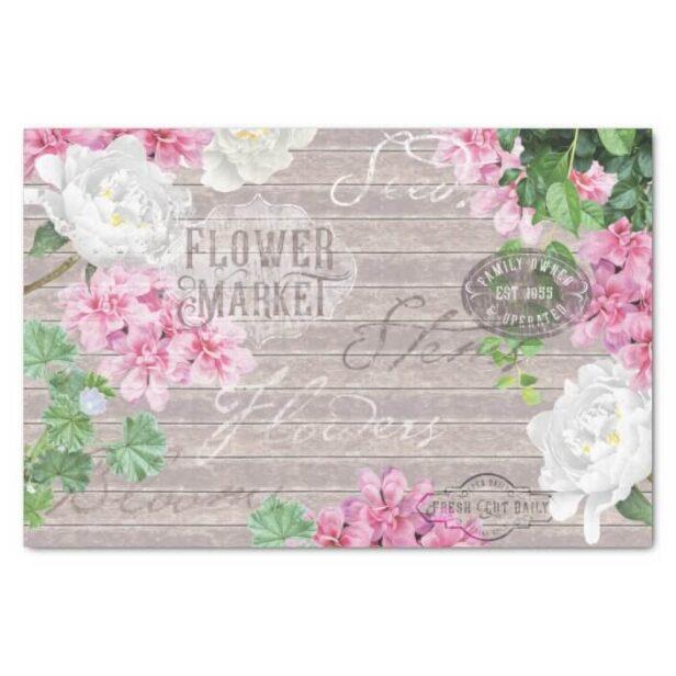 Vintage Fresh Flower Market Beown Rustic Wood Decoupage Tissue Paper