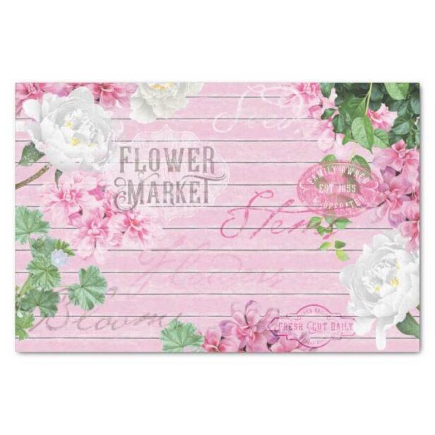 Vintage Fresh Flower Market Pink Rustic Wood Decoupage Tissue Paper