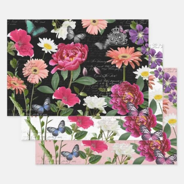 Vintage Wildflower Butterfly Handwriting Decoupage Wrapping Paper Sheets