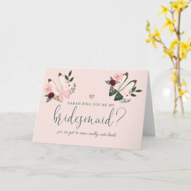 Will You Be My Bridesmaid? Watercolor High Heels Pink Card