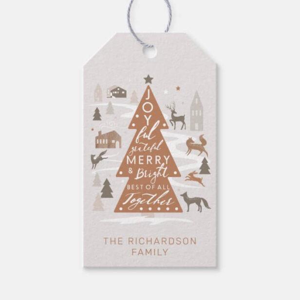 Christmas Tree Woodland Animals & Cozy Village Gift Tags