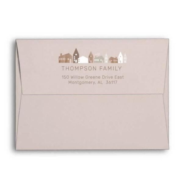 Cozy Family Modern Minimal Christmas Village Envelope