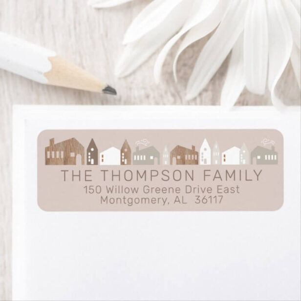 Cozy Family Modern Minimal Christmas Village Return Address Label