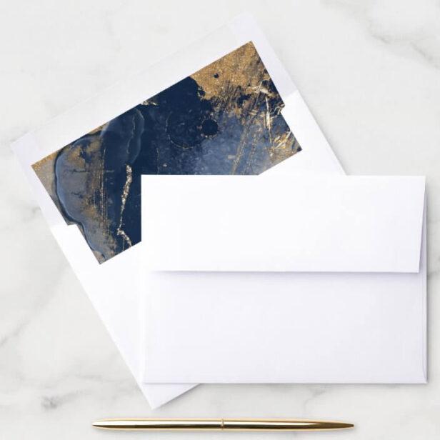 Elegant Navy Watercolor Ink & Golden Jewel Envelope Liner