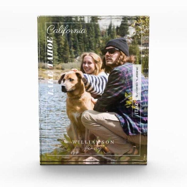 Family Photo Modern Editorial Travel Keepsake Plaque