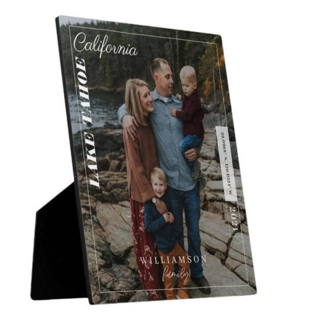 Family Photo Modern Editorial Travel Keepsake Post Plaque