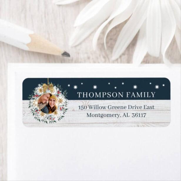 Family Photo Snowflake Wreath White Wood Shiplap Return Address Label