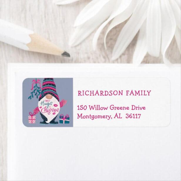 Finally Hugs & Kisses Fun Bright Christmas Gnome Address Label