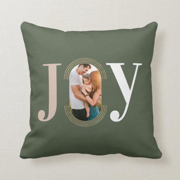 Joy Love Modern Type Geometric Family Photo Green Throw Pillow