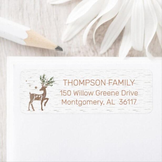 Joy | White Birch Bark Woodgrain Eucalyptus Deer Label