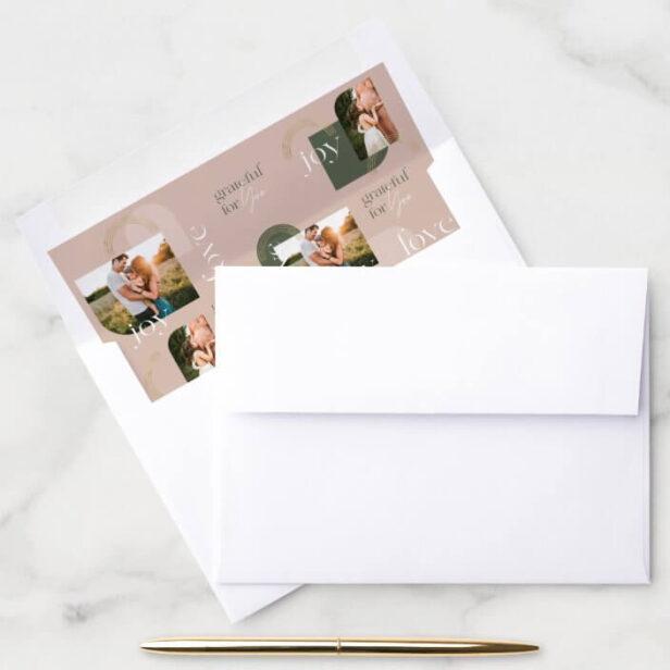Love Joy Grateful For You Modern Photo Collage Envelope Liner
