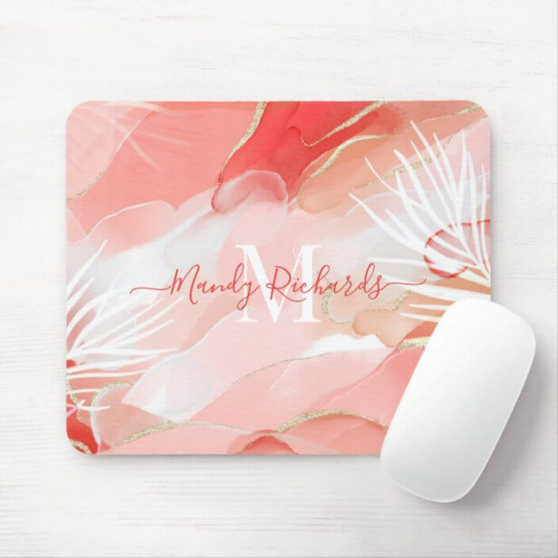 Modern Abstract Gold, Pink & Red Watercolor Ink Mouse Pad