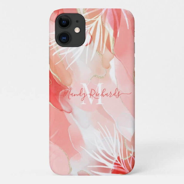 Modern Gold Pink Red Watercolor Ink Monogram Name Case-Mate iPhone Case