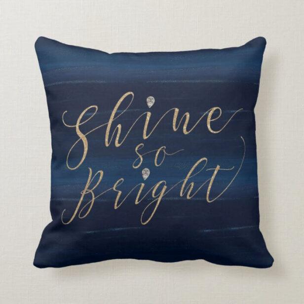 Shine So Bright Navy Gold Glitter Jewel Snowflakes Throw Pillow
