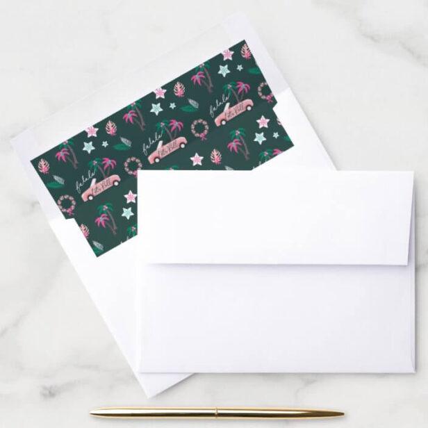 Tropical Christmas Fala Lets Roll Pink Convertible Dark Green Envelope Liner