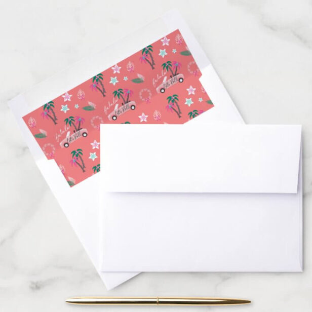 Tropical Christmas Fala Lets Roll Pink Convertible Pink Envelope Liner
