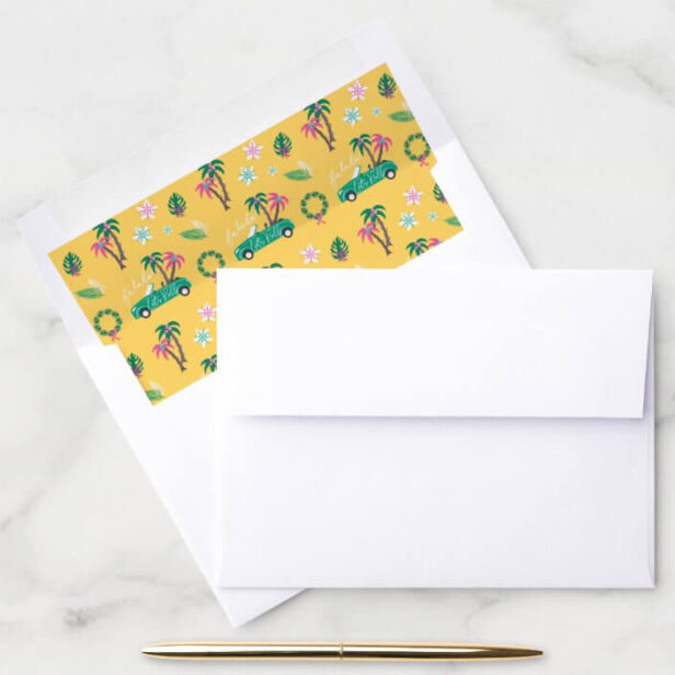Tropical Christmas Fala Lets Roll Pink Convertible Yellow Envelope Liner