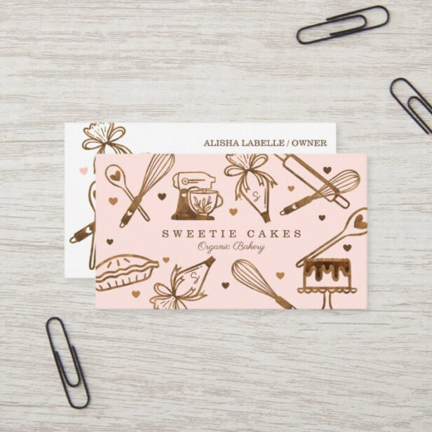 Baking & Cooking Utensil Woodgrain Texture & Pink Business Card