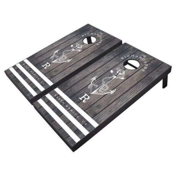 Family Monogram Rustic Grey Wood Plank Ship Anchor Cornhole Set