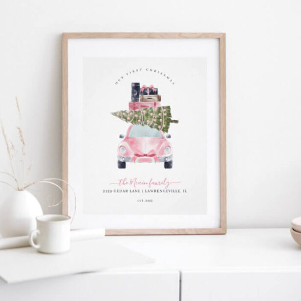 First Christmas New Home Retro Pink Card Keepsake Poster