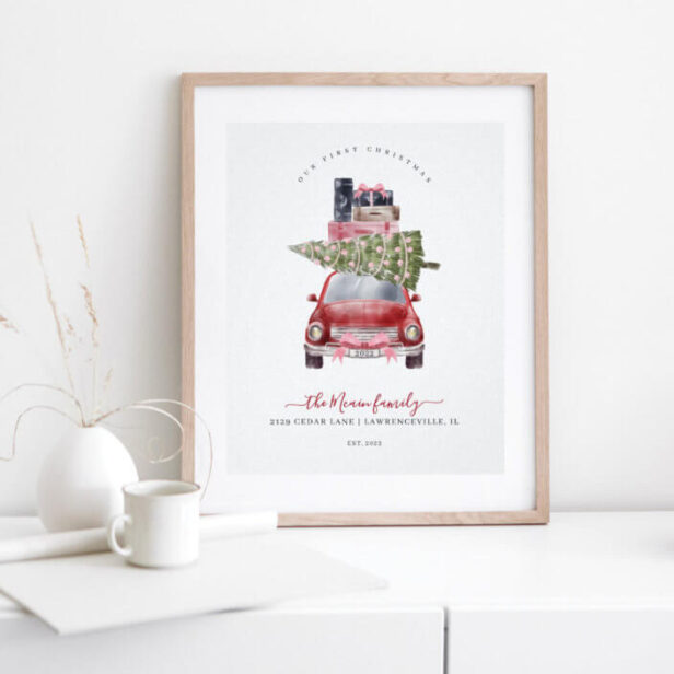 First Christmas New Home Retro Red Card Keepsake Poster