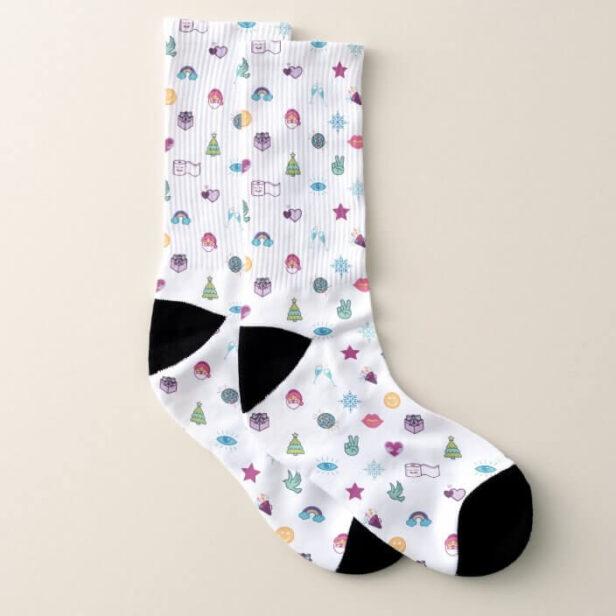Fun Colorful & Cheerful Christmas Emoji Pattern Socks