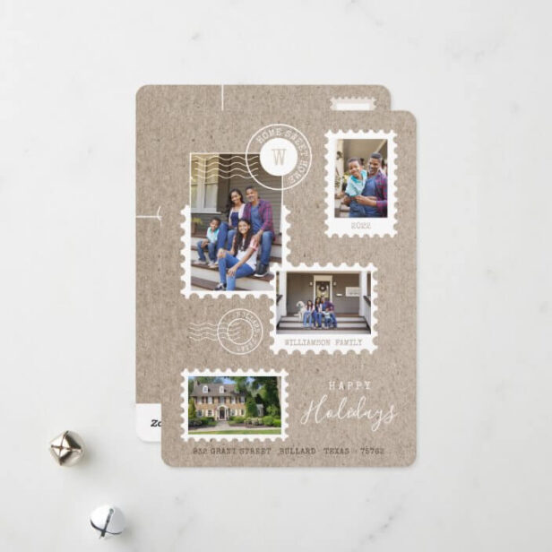 Fun Family Moving Postage Stamps Photo Collage Holiday Card