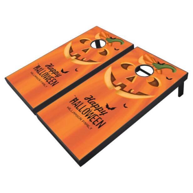 Happy Halloween Stylish Carved Halloween Pumpkin C Cornhole Set