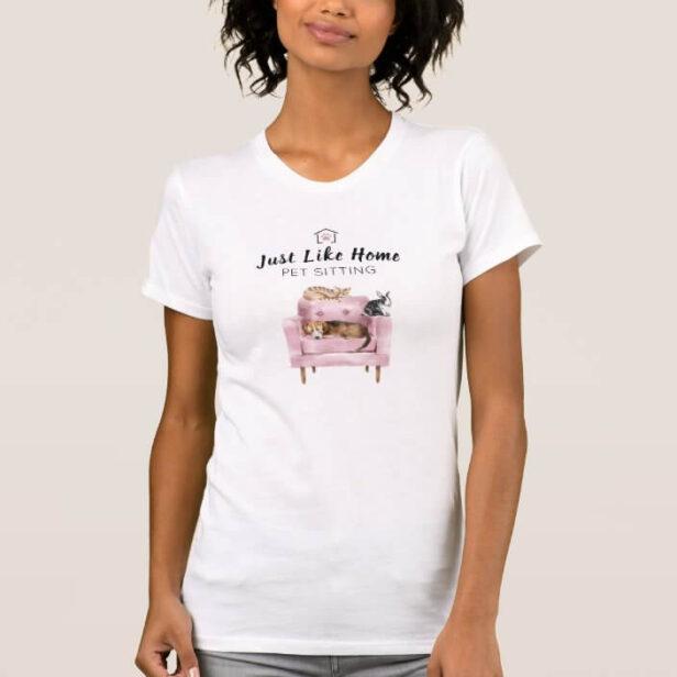 Home Pet Sitting   Dog & Cat Sleeping on Pink Sofa T-Shirt