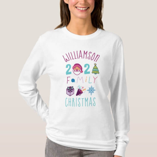 Matching Family 2021 Fun Cartoon Christmas Emoji T-Shirt