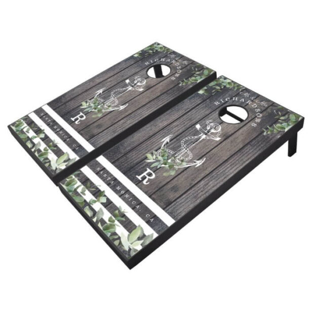 Mr & Mrs Grey Wood Plank Ship Anchor & Eucalyptus Cornhole Set