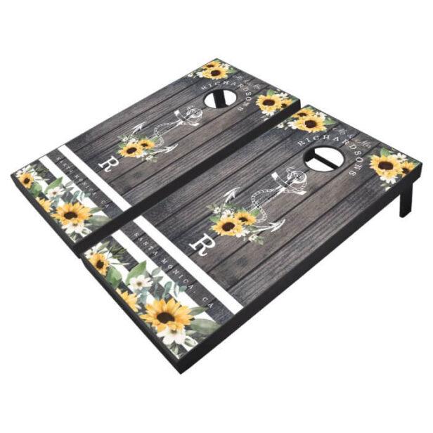 Mr & Mrs Grey Wood Plank Ship Anchor & Sunflowers Cornhole Set
