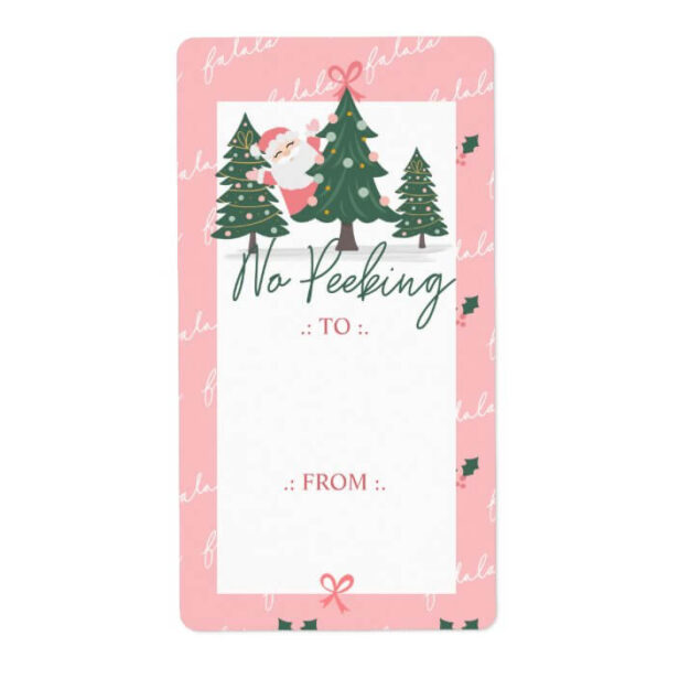 No Peeking Santa Claus Hiding, Christmas Tree Pink Label