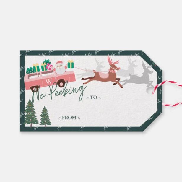 No Peeking Santa's Comin' To Town Pink Van Gift Tags