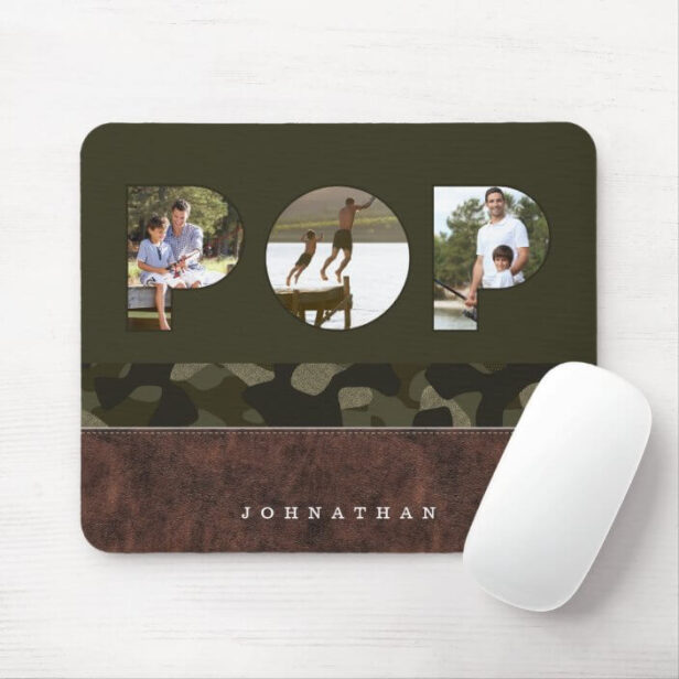 POP Photo Frame Green Camouflage Pattern Leather Mouse Pad